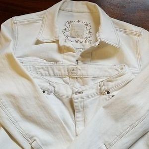 J. Jill White Jean's & Jacket set size 8/small